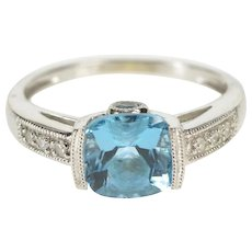 10K Cushion Blue Topaz Diamond Ornate Engagement Ring Size 5 White Gold [QWQQ]