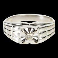 14K Ornate Men's Diamond Solitaire Wedding Band Ring Size 10 White Gold [QRXR]