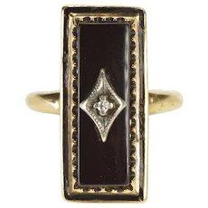 10K Ornate Retro Black Onyx Diamond Cocktail Ring Size 5 Yellow Gold [QWQQ]