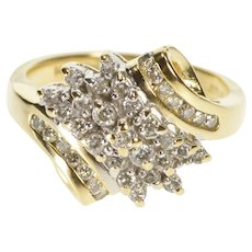 14K Diamond Cluster Curvy Bypass Fashion Cocktail Ring Size 6.75 Yellow Gold [QWQQ]