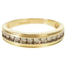 14K Milgrain Trim Diamond Channel Wedding Band Ring Size 9.5 Yellow Gold [QRXS]