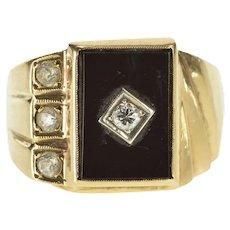 10K 1940's Black Onyx Diamond CZ Men's Fashion Ring Size 10 Yellow Gold [QRXR]