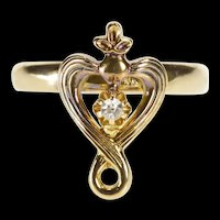 10K Victorian Diamond Solitaire Ornate Heart Ring Size 4 Yellow Gold [QRXR]