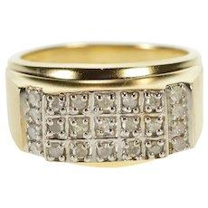 10K Men's Diamond Encrusted Squared Fashion Band Ring Size 9.75 Yellow Gold [QRXR]