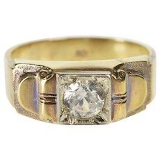 10K 1930's Men's Cubic Zirconia Ornate Fashion Ring Size 8.75 Yellow Gold [QRXR]