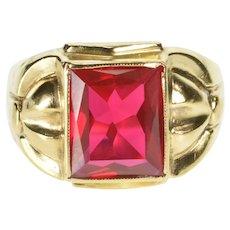 10K Retro Syn. Ruby Men's Ornate Fashion Ring Size 11 Yellow Gold [QRXR]