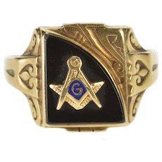 10K Masonic Ornate 1930's Black Onyx Men's Ring Size 11 Yellow Gold [QWQQ]