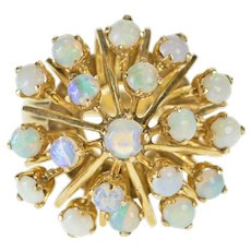 18K 1950's Retro Natural Opal Burst Cocktail Ring Size 7 Yellow Gold [QWQQ]