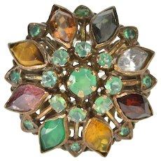 14K Retro Emerald Gemstone Round Cocktail Fashion Ring Size 6 Yellow Gold [QWQQ]