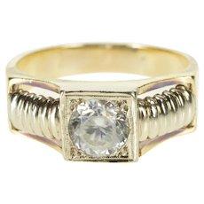 14K Two Tone Cubic Zirconia Ornate Men's Fashion Ring Size 12.75 Yellow Gold [QRXR]