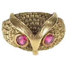 14K 1960's Retro Syn. Ruby Owl Design Fashion Ring Size 7 Yellow Gold [QWQQ]