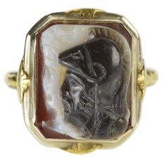 14K Carved Agate Intaglio Ornate Retro Fashion Ring Size 6.75 Yellow Gold [QWQQ]