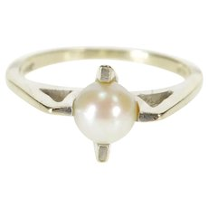 14K Retro Pearl Inset Cross Prong Design 1960's Ring Size 6.5 White Gold [QRXR]