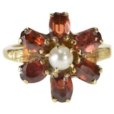 10K Oval Garnet Pearl Inset Flower Cluster Cocktail Ring Size 5 Yellow Gold [QWQC]