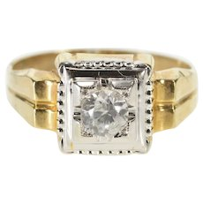 10K Retro Cubic Zirconia Inset Men's Ornate Fashion Ring Size 12 Yellow Gold [QRQX]
