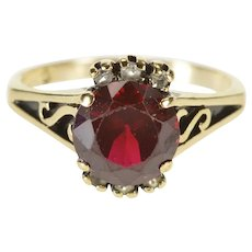 10K Round Garnet Solitaire Accent Scroll Design Ring Size 6.25 Yellow Gold [QRQX]