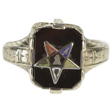 14K Art Deco Order of the Eastern Star Onyx Baby Ring Size 1.5 White Gold [QWQC]