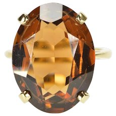 14K Oval Smoky Quartz Solitaire Cocktail Fashion Ring Size 6 Yellow Gold [QWQC]