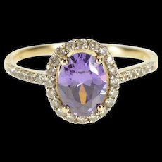 10K Oval Purple Cubic Zirconia CZ Halo Fashion Ring Size 7 White Gold [QRXS]