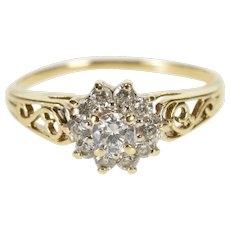10K Round Cubic Zirconia Halo Cluster Scroll Ring Size 6 Yellow Gold [QWQC]