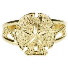 14K Sand Dollar Seashell Ocean Motif Fashion Ring Size 7.75 Yellow Gold [QWQC]