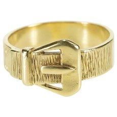 9K Ornate Retro Belt Buckle Men's Fashion Band Ring Size 11.25 Yellow Gold [QRQX]
