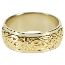 14K 7.1mm Two Tone Ornate Floral Wedding Band Ring Size 7 Yellow Gold [QWQC]