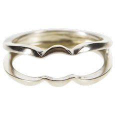 10K Scalloped Contour Design Wedding Band Guard Ring Size 5.25 White Gold [QWQC]
