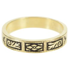 14K Black Enamel Flower Swirl Wedding Band Ring Size 8.75 Yellow Gold [QWQC]