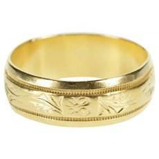 14K Ornate 7.0mm Floral Swirl Scroll Wedding Band Ring Size 8.75 Yellow Gold [QRXP]