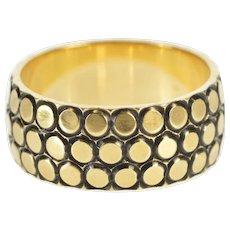 14K 1960's Retro Circle Pattern Wedding Band Ring Size 7 Yellow Gold [QWQC]