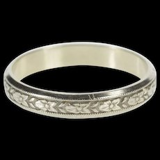 18K 4.0mm Art Deco Floral Men's Wedding Band Ring Size 11.75 White Gold [QWQC]