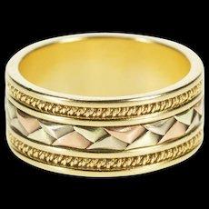 14K 8.6mm Tri Tone Braid Design Fashion Band Ring Size 7.25 Yellow Gold [QWQC]