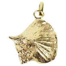 14K 3D Ornate Conch Seashell Beach Motif Charm/Pendant Yellow Gold  [QWQQ]