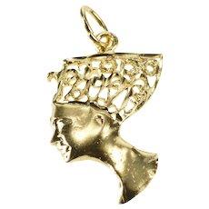 14K Filigree Queen Nefertiti Egyptian Motif Charm/Pendant Yellow Gold  [QWQQ]