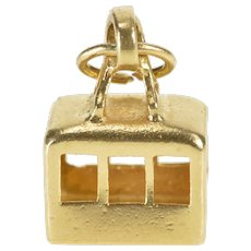 14K 3D Aerial Cable Car Tramway Charm/Pendant Yellow Gold [QRXP]