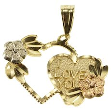 14K Heart I Love You Floral Accent Anniversary Charm/Pendant Yellow Gold  [QWQQ]