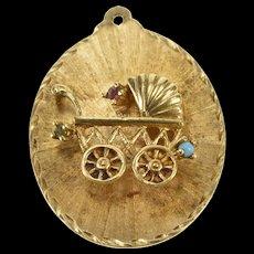 14K 1960's Pram Ornate Baby Carriage Child Charm/Pendant Yellow Gold  [QWQC]