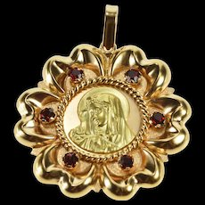 18K Ornate Two Tone Garnet Virgin Mother Mary Charm/Pendant Yellow Gold  [QWQC]