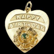 14K Retro Happy Birthday Flower Emerald Heart Charm/Pendant Yellow Gold  [QWQC]