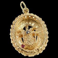 14K Ornate St. Thomas Virgin Islands Pineapple Charm/Pendant Yellow Gold  [QWQC]