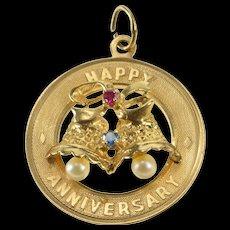 14K 1960's Retro Happy Anniversary Wedding Bells Charm/Pendant Yellow Gold  [QWQC]