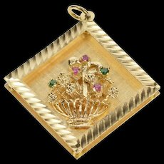 14K Square Ornate 1960's Flower Bouquet Basket Charm/Pendant Yellow Gold  [QWQC]