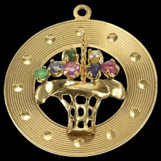 14K Retro Grooved Gemstone Bouquet Basket Charm/Pendant Yellow Gold  [QWQC]