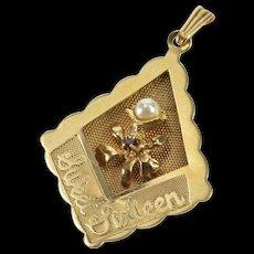 14K Ornate Sweet Sixteen Scalloped Flower Design Charm/Pendant Yellow Gold  [QWQC]