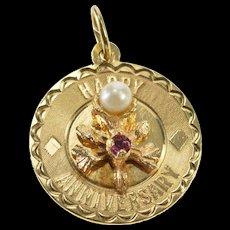 14K Happy Anniversary Retro Amethyst Pearl Flower Charm/Pendant Yellow Gold  [QWQC]