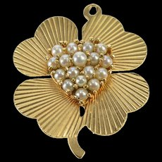 14K Retro Ornate Pearl Heart Shamrock Lucky Charm/Pendant Yellow Gold  [QWQC]