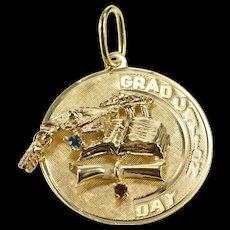 14K Ornate Retro 1960's Graduation Day Cap Diploma Charm/Pendant Yellow Gold  [QWQC]