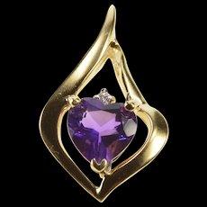 14K Heart Cut Amethyst Diamond Accent Wavy Pendant Yellow Gold  [QWQC]