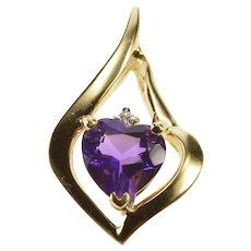 14K Heart Cut Amethyst Diamond Accent Wavy Pendant Yellow Gold [QRQX]